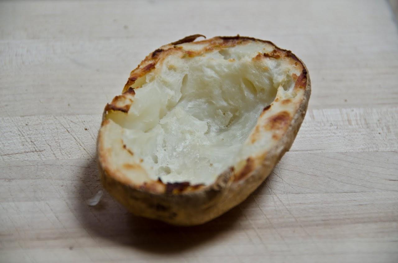 Potato skin cooked