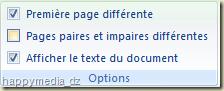 """Word 2007 groupe """"Options"""" de l'onglet """"Création"""" des """"Outils des En-têtes et pieds de page"""""""