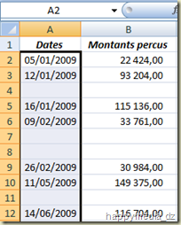 Feuille Excel avec lignes vides