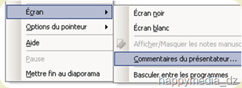 Capture d'écran du menu contextuel du mode diaporama