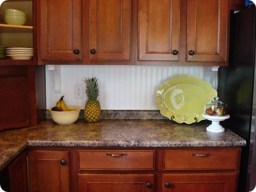A beadboard backsplash from Thrifty Decor Chick