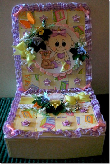Baby Girl Easel Gift Box Card