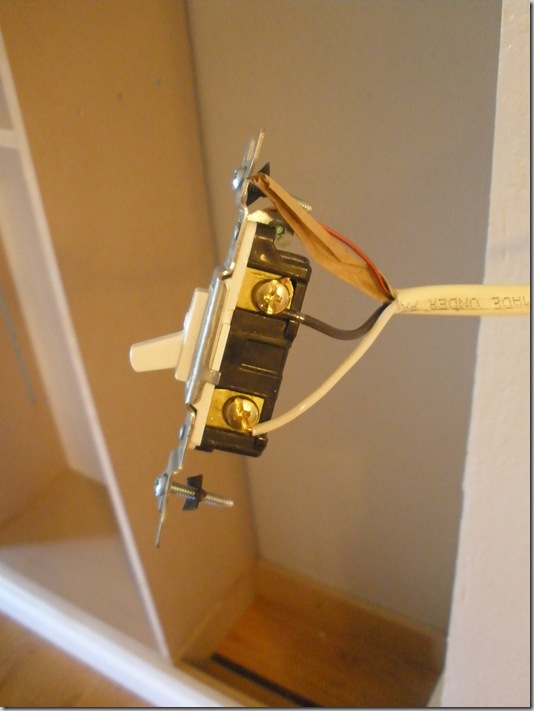 Pregnant... with power tools: Built-In Bookcase: Moving a Light Switch