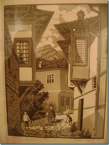 """""""Νάουσα"""" λιθογραφία Κ. Πλακωτάρη 1956 - Δημοτική πινακοθήκη Ιωαννίνων"""