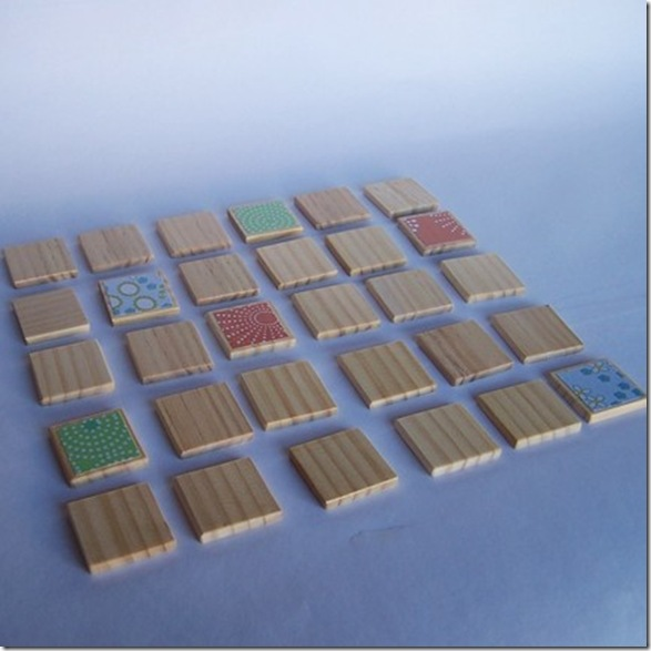 handmade wooden matching game