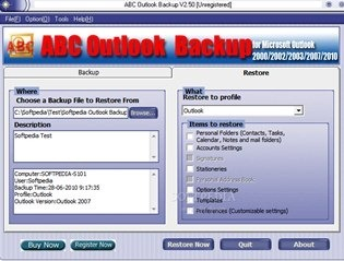 ABC Outlook Backup