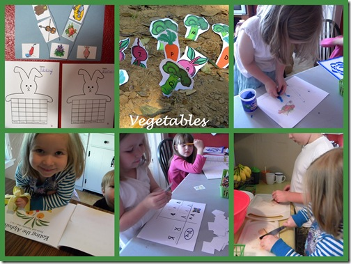 vegetable activities collage