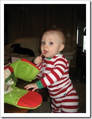 Reid & his stocking, Dec. 25 2009