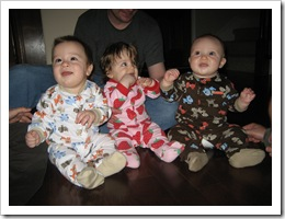 Jacob, Sophia & Reid in PJs at a dinner party, 10-22-09