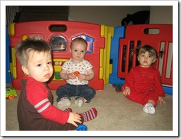 Jacob, Reid & Sophia taking a break from playing to pose for the camera, 1-29-10