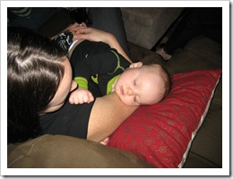 Sweet Baby Reid in Momma's arms, 1-23-10