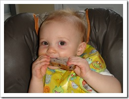 Reid loves blueberry bagel slices from Panera Bread.  Yum.