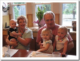 Grandma & Grandpa with Reid, Annabelle and Avery, 6-19-09