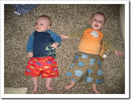 Reid (12 weeks) and Brady (6 mo.) all bundled up and ready for a swim! 6-22-09