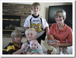 Ammy and her five Baby Boys, Jack, Sam, Reid, Will & Alex! 9-4-09