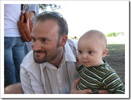 Reid & Daddy check out the baby goats at the pumpkin patch, 10-24-09