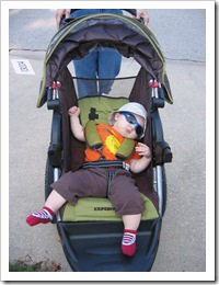 Now THIS is a relaxed baby!  He loves walks! 11-10-09