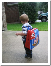 Argh!  Reid's big boy pirate backpack is stinkin' cute, don't you think?!