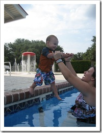 Learning to jump in off the side of the pool! - Sept 2010