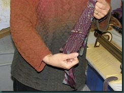Sample dyed after using smocking pleater, seen in the background