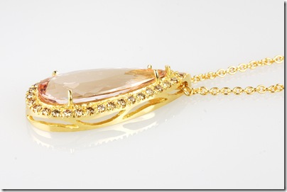morganite champagne diamond pendant sideview