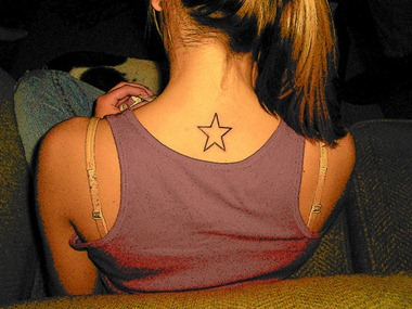 girls tattoo sample star tattoo design back neck. Black Bedroom Furniture Sets. Home Design Ideas