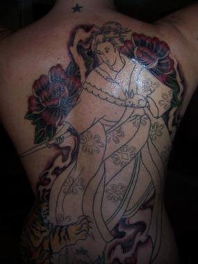 geisha tattoo design, full body tattoo