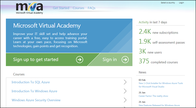 Microsoft Virtual Academy site screenshot
