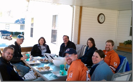 Sunday lunch on the patio- Ryan Craven, Ken, Donna and Danny Richmiller, Jenni and Kyle, Carol and Shannon Donley