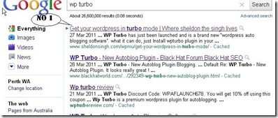 Google no 1 rankings for Wp turbo affiliate rankins Download
