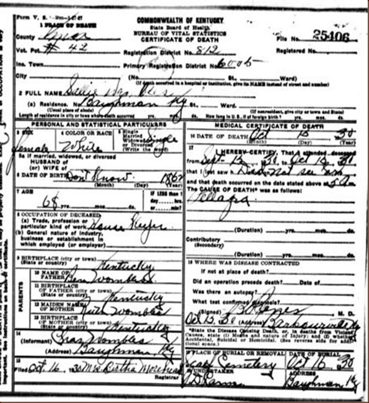 benjamin wagers ancestors and descendants: sallie wombles death