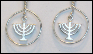 Silver Menorah Earrings