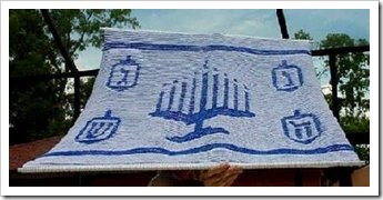 Illusion Knitted Chanukah Miracle Blanket