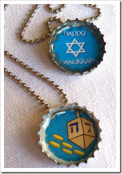 Hanukkah Bottlecap Pendant Necklace