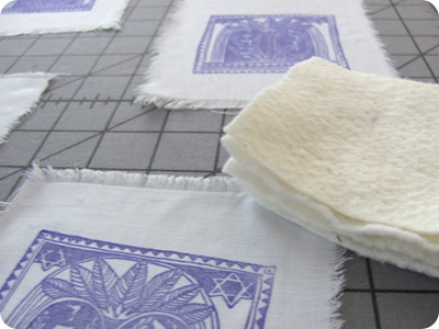 Small pieces of cotton batting