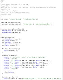 Kode for wordpress plugin widget