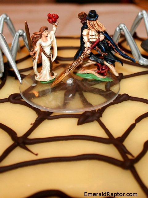 Warhammerfigurer på bryllupskake