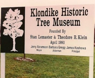 Klondike tree museum sign