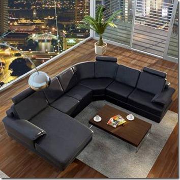 canapé angle cuir noir