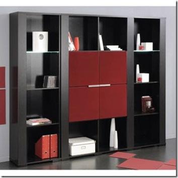 bibliothèque double rouge et noir