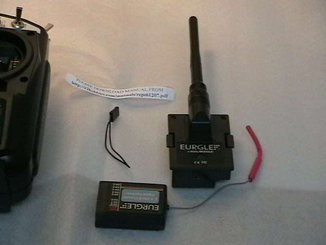 Detalle del emisor y el receptor Eurgle de 2.4 Ghz