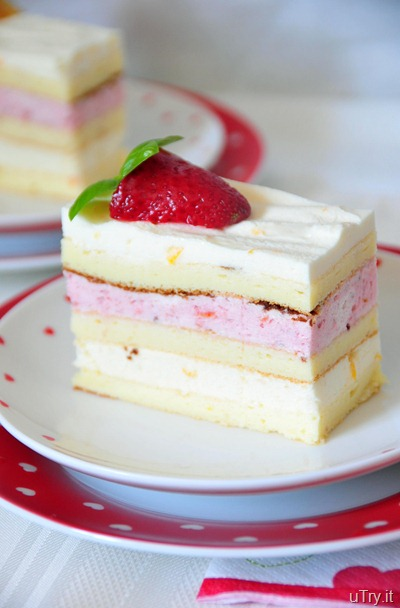 Meyer Lemon and Strawberry Mousse Cakes