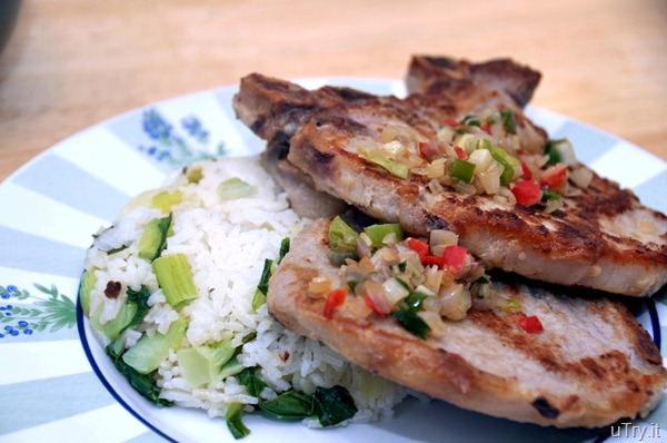 Pork Chops with Vegetable Rice (排骨菜飯)