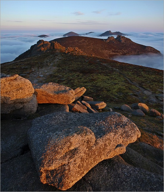 Cloud insion sunrise over the Mournes from Slieve Binian
