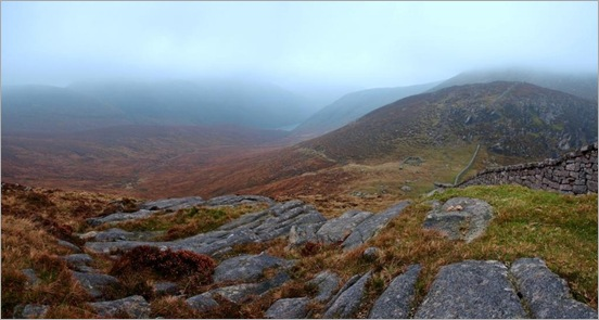 From Slievenaglough looking at Bearnagh to the right and Ben Crom Resevoir in the centre