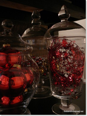 details on the Christmas jars - a leftover bell garland and a  foil garland and leftover red ornaments