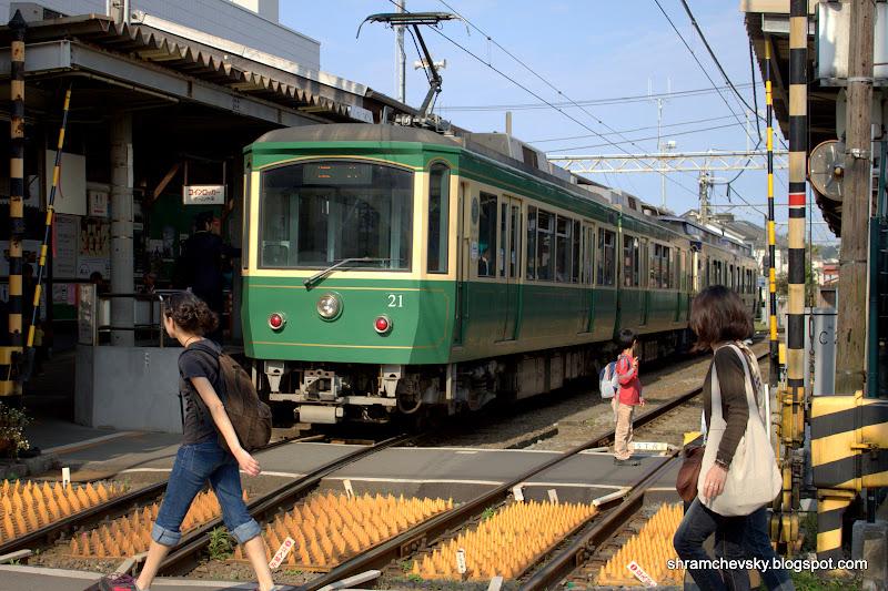Japan Kamakura Tram Train Япония Камакура Электричка Электропоезд Поезд Трамвай