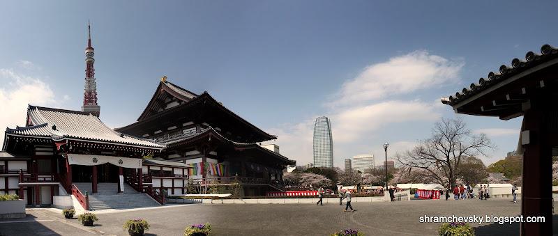 Tokyo Minato Shibakoen Zojoji Buddhist Temple Panorama Токио Минато Шибакоен Зожожи Буддийский храм