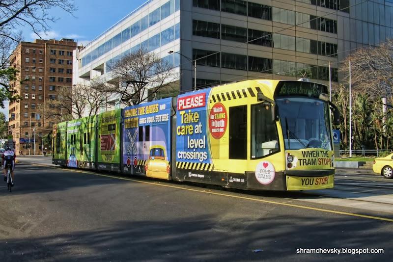 Australia Melbourne Tram Take Care At Level Crossings Австралия Мельбурн Трамвай Берегись