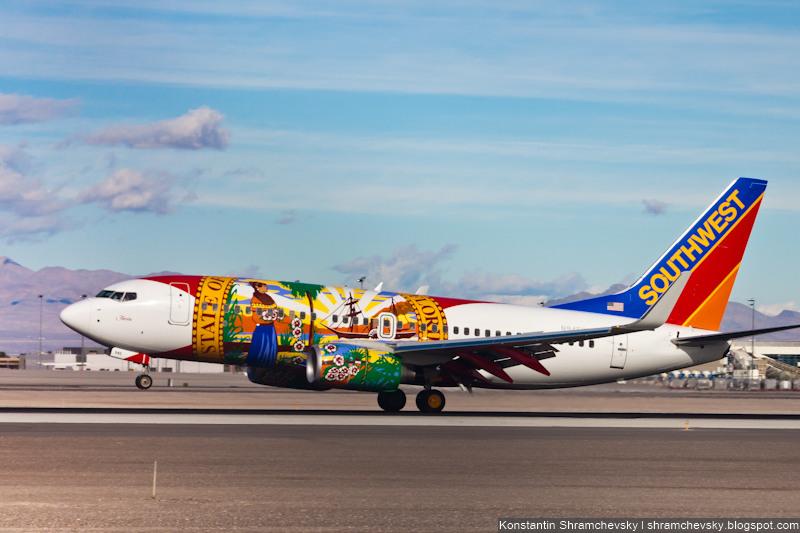 USA Nevada Las Vegas McCarran International Airport Southwest Airlines Boeing 737 США Невада Лас Вегас Международный Аэропорт МакКарран Саусвест Эйрлайнз Боинг 737